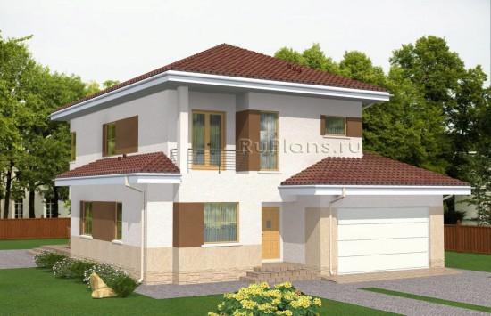 Проект двухэтажного дома с подвалом и большим гаражом Rg4967