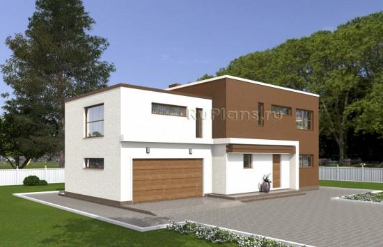 Проект индивидуального двухэтажного жилого дома в стиле минимализм Rg4994