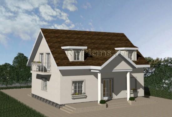 Проект компактного одноэтажного дома с мансардой Rg3426