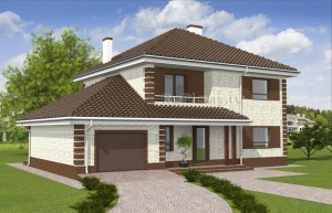 Проект одноэтажного дома с подвалом и гаражом Rg4933