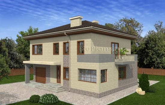 Проект двухэтажного дома с гаражом и террасой Rg5002