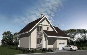 Компактный дом с мансардой и гаражом Rg3222