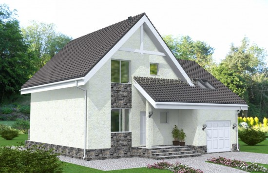 Проект одноэтажного дома с мансардой и гаражом Rg4881