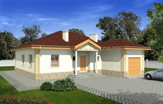 Проект дома с гаражом и просторной гостиной Rg4969