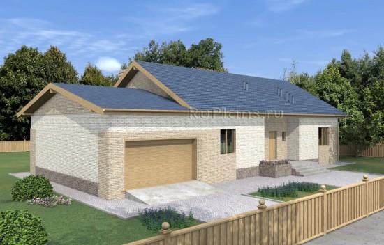 Дом с гаражом на две машины и крытой террасой Rg5006