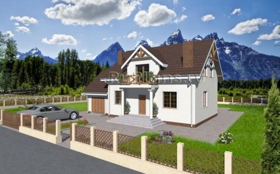 Проект компактного дома с гаражом Rg3248