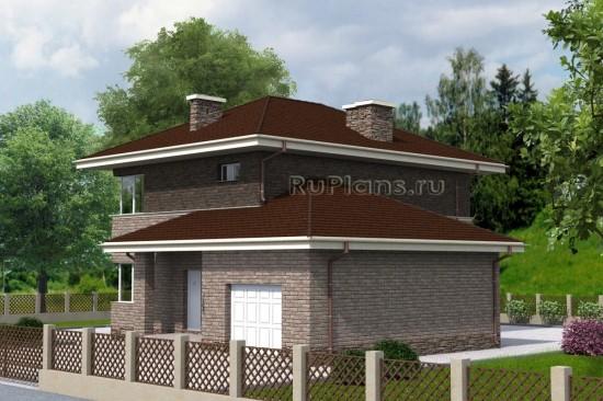 Проект аккуратного двухэтажного дома с гаражом Rg4744