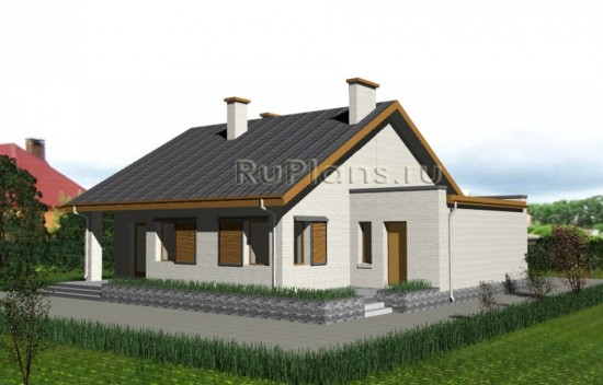 Проект небольшого одноэтажного дома с гаражом Rg3213