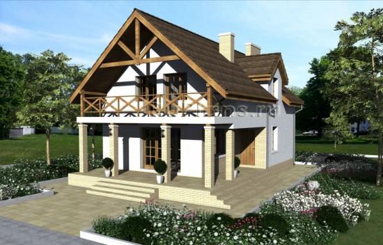 Проект одноэтажного дома с мансардой Rg3964