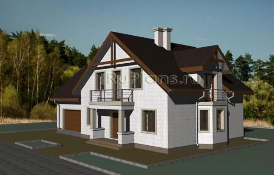 Одноэтажный дом с мансардой, погребом и гаражом Rg3424