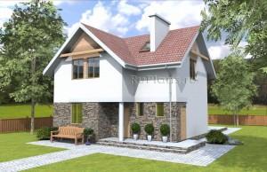Проект индивидуального одноэтажного жилого дома с мансардой. Rg4772