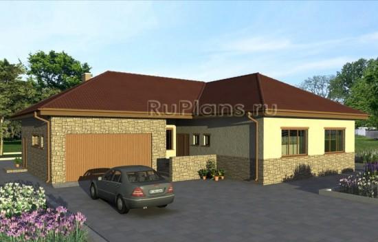 Проект оригинального одноэтажного дома с гаражом Rg4787
