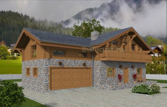 Проект индивидуального одноэтажного жилого дома с мансардой в стиле шале Rg4999