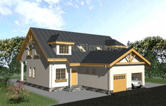 Проект двухсекционного одноэтажного дома с мансардой (левая/правая) Rg3214