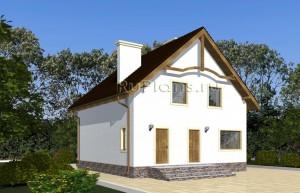 Проект одноэтажного дома с мансардой и эркером Rg4871