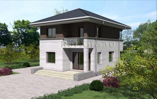 Проект двухэтажного дома с гаражом Rg3953