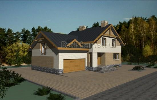 Проект просторного одноэтажного дома с мансардой, цоколем и гаражом Rg3355