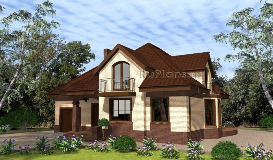 Дом с мансардой с полукруглой террасой Rg4942