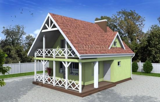 Компактный одноэтажный дом с мансардой Rg4962