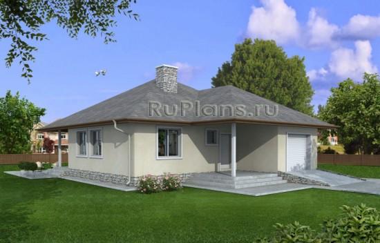 Проект небольшого одноэтажного дома с гаражом Rg3866