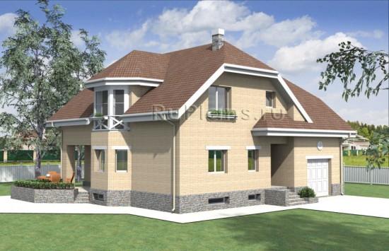 Проект дома с мансардой и подвалом Rg3981