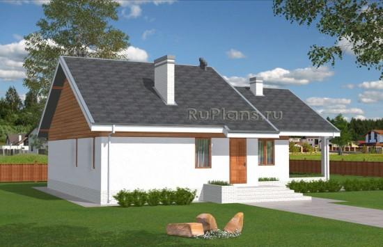 Проект одноэтажного дома с просторной террасой Rg5012