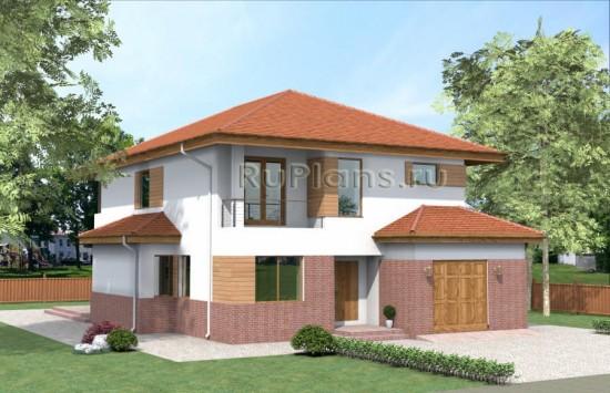 Двухэтажный дом с гаражом и террасой Rg4003