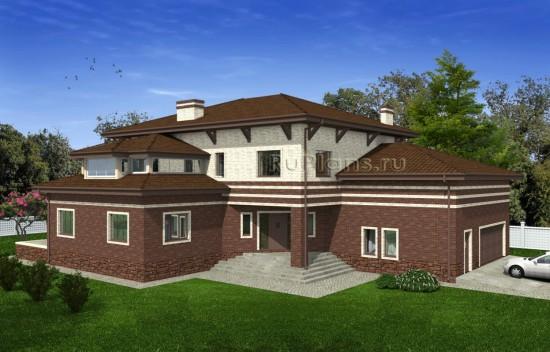 Двухэтажный дом с чердаком и гаражом на две машины Rg4971
