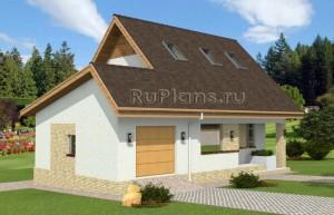 Проект одноэтажного дома с мансардой на склоне Rg4831