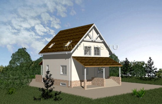 Компактный дом с гаражом и мансардным этажом Rg3971