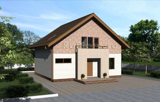 Проект уютного дома с мансардой Rg3948