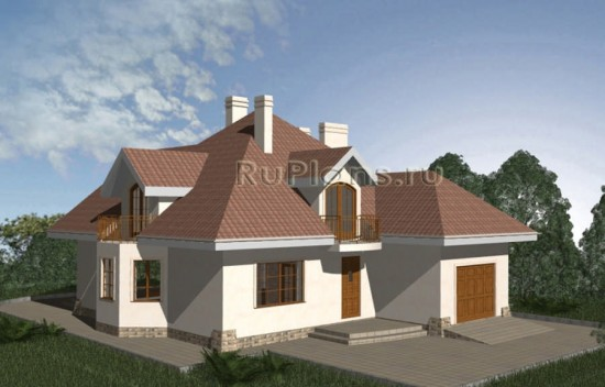 Проект уютного дома с мансардой и гаражом Rg3331