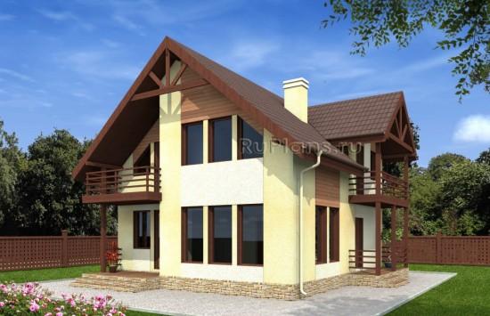 Проект одноэтажного дома с мансардой Rg4889