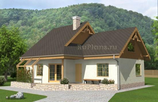 Проект одноэтажного дома с мансардой и террасой Rg4899
