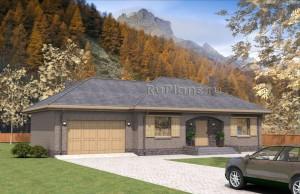 Проект одноэтажного коттеджа с гаражом Rg4741