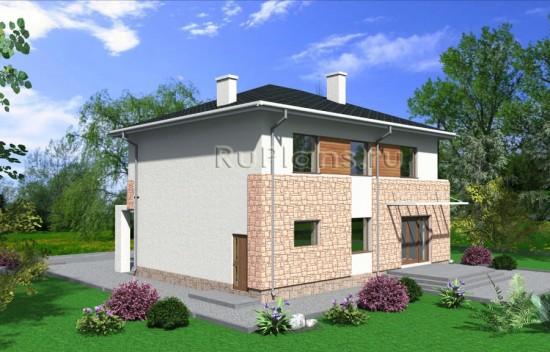 Проект двухэтажного дома с гаражом Rg4009