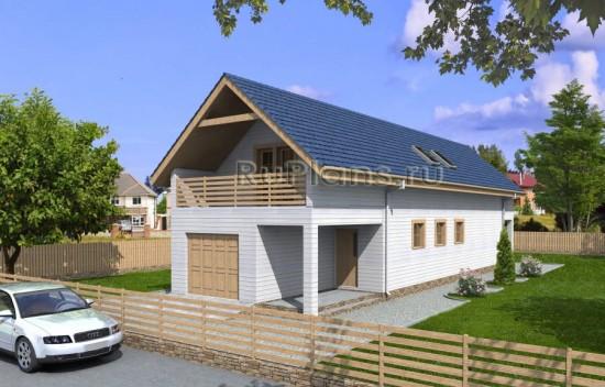 Проект дома с мансардой и гаражом для узкого участка Rg3384
