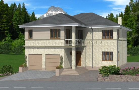 Проект просторного двухэтажного дома с подвалом Rg4947