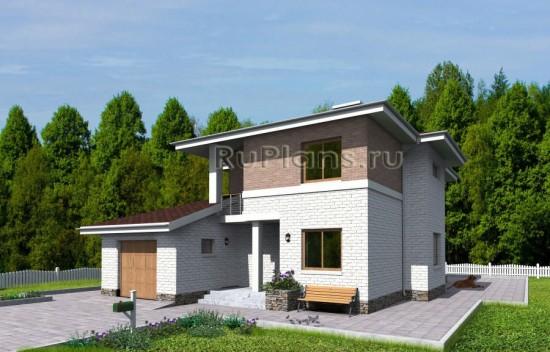Проект компактного двухэтажного дома с гаражом Rg3347
