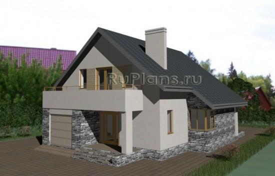 Комфортный узкий дом с мансардой и гаражом Rg3319