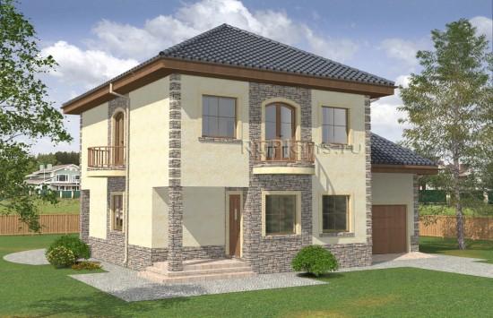 Двухэтажный дом с полукруглыми балконами Rg4983