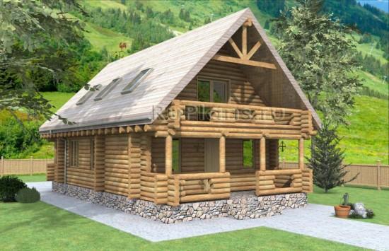 Проект деревянного одноэтажного дома с мансардой Rg1571