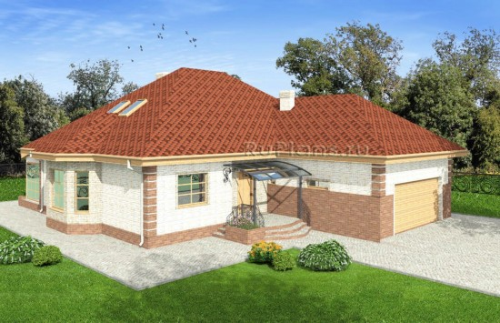 Проект дома с эркером и гаражом Rg4918
