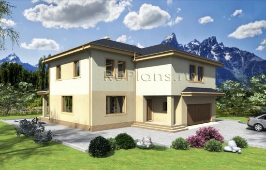 Проект двухэтажного дома с гаражом Rg3902