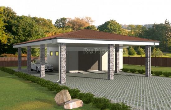 Проект гаража с навесом Rg5056