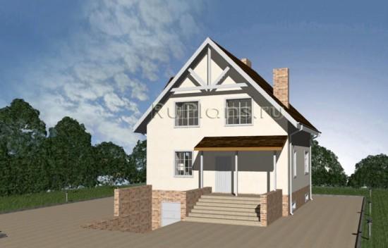 Проект одноэтажного дома с мансардой, гаражом и цоколем для узкого участка Rg3425