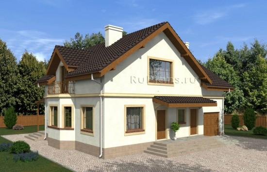 Проект дома с мансардой, эркером и террасой Rg5005