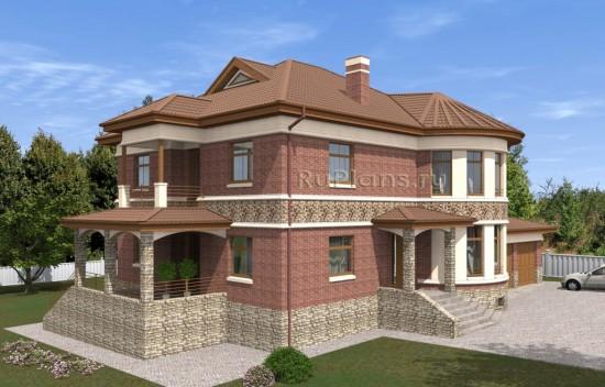 Проект просторного двухэтажного дома с подвалом, мансардой и гаражом на две машины Rg5016