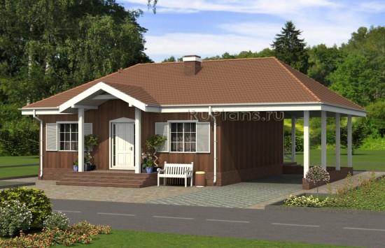 Проект стильного одноэтажного дома с навесом для автомобиля Rg5034