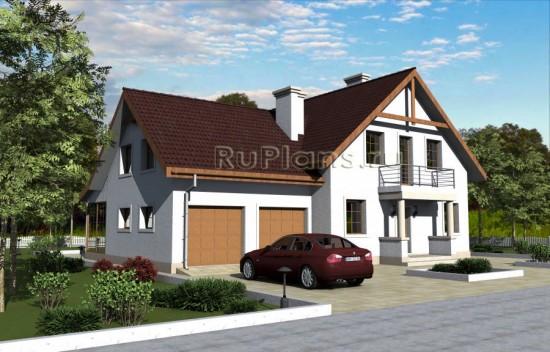 Дом с мансардой и гаражом на две машины Rg3316